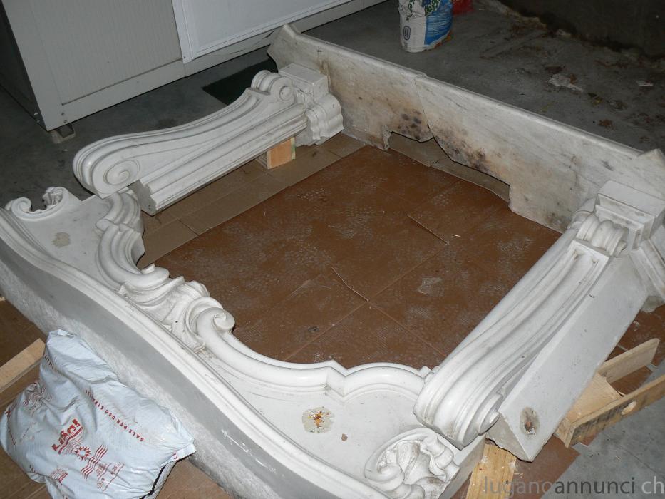 Camino In Marmo Bianco : Camino inizi sec xx in marmo bianco laterali mobili e arredi
