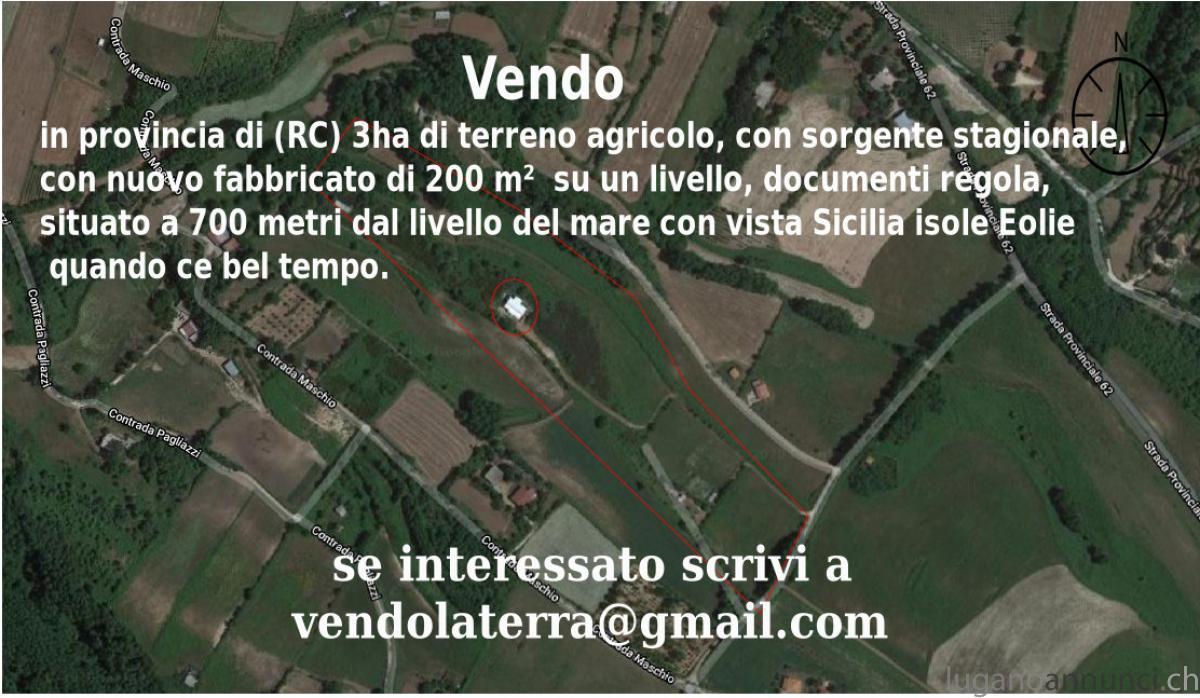 Vendo in provincia di (RC) 3ha di terreno agricolo, con sorgente stagionale, con VendoinprovinciadiRC3haditerrenoagricoloconsorgentestagionaleconnuovofabbricatodi200msuunlivellodocumentiregolasituatoa700metridallivellodelmareconvistaSiciliaisoleEoliequandocebeltempo.jpg