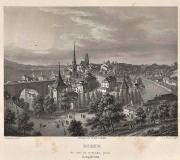 Berne ( du  côté du noveau pont ) Antica Incisione originale