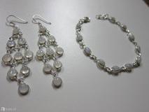 Set orecchini e bracciale in argento 925 con pietra di luna