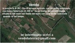 Vendo in provincia di (RC) 3ha di terreno agricolo, con sorgente stagionale, con