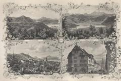 Souvenir von Zug - antica incisione originale
