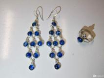 Set orecchini e anello in argento 925 con cianite blu