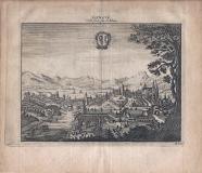 GENEVE Ville forte, Sur le Rhône  - 1714 -  cm 17,5 x 15,5 Folio
