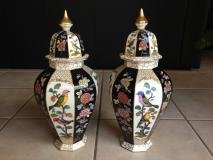 Bellissima originale coppia di vasi in porcellana - dipinta a mano