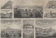 Souvenir von Luzern (Lucerne ) Antica Incisione Originale