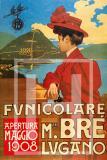 Manifesto Vintage Funicolare Monte Brè Lugano 1908