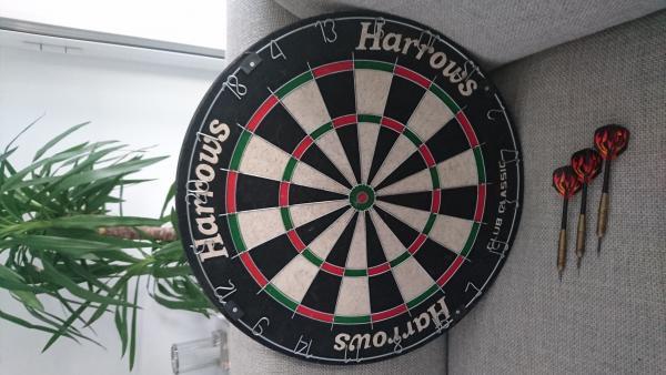 Harrows Club Classic dartboard with darts 451122a.jpg